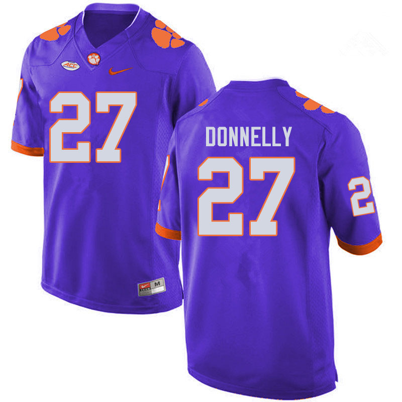 Men #27 Carson Donnelly Clemson Tigers College Football Jerseys Sale-Purple