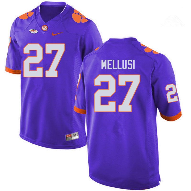 Men #27 Chez Mellusi Clemson Tigers College Football Jerseys Sale-Purple