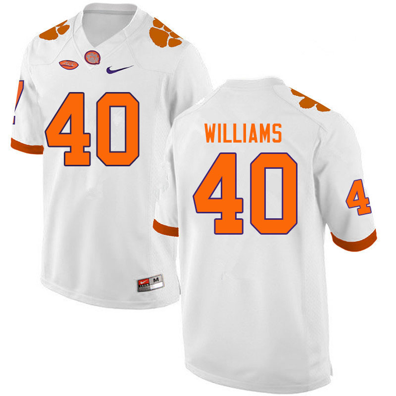 Men #40 Greg Williams Clemson Tigers College Football Jerseys Sale-White