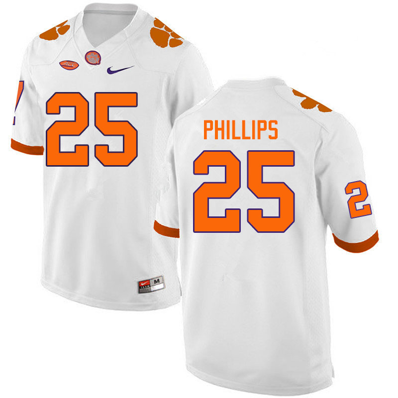Men #25 Jalyn Phillips Clemson Tigers College Football Jerseys Sale-White