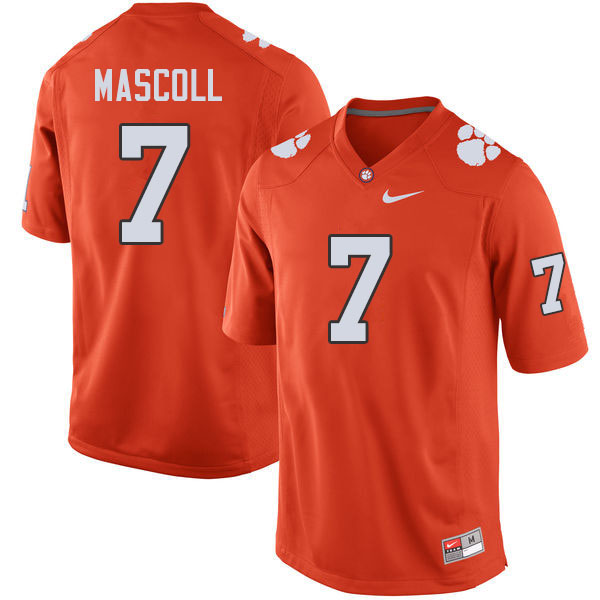 Men #7 Justin Mascoll Clemson Tigers College Football Jerseys Sale-Orange