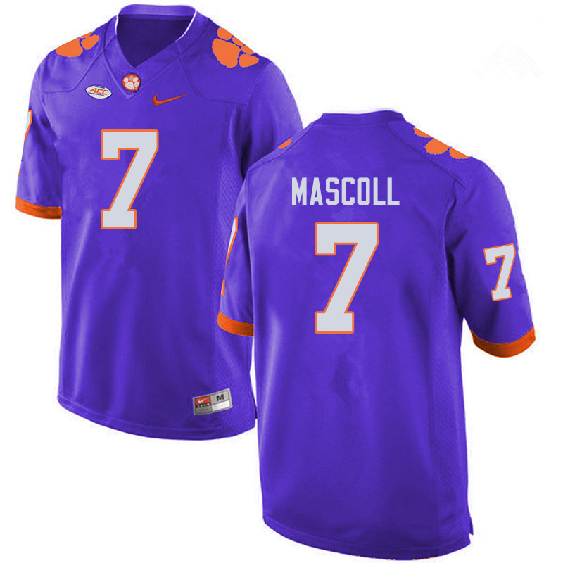 Men #7 Justin Mascoll Clemson Tigers College Football Jerseys Sale-Purple