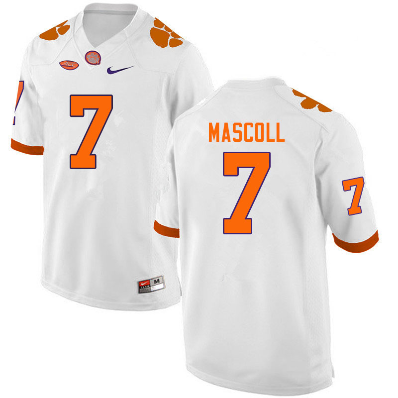 Men #7 Justin Mascoll Clemson Tigers College Football Jerseys Sale-White