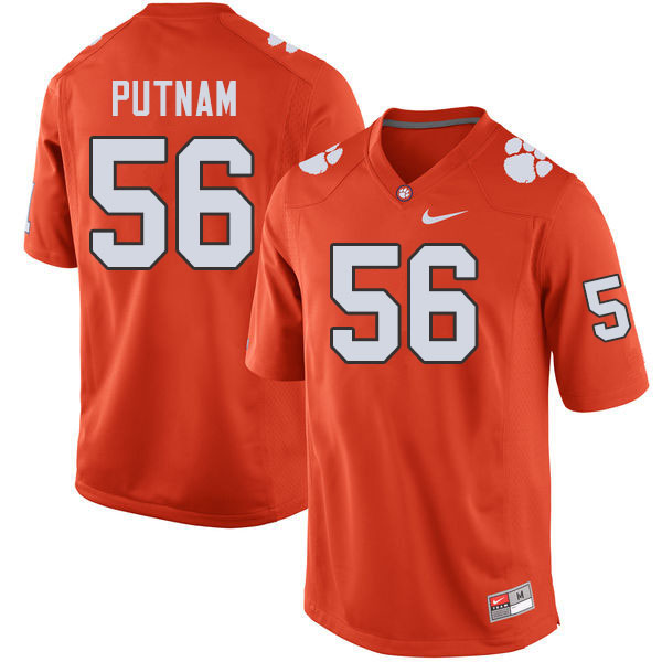 Men #56 Will Putnam Clemson Tigers College Football Jerseys Sale-Orange