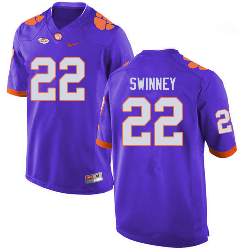 Men #22 Will Swinney Clemson Tigers College Football Jerseys Sale-Purple