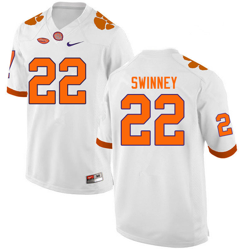 Men #22 Will Swinney Clemson Tigers College Football Jerseys Sale-White
