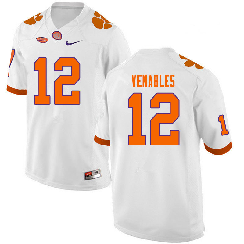 Men #12 Tyler Venables Clemson Tigers College Football Jerseys Sale-White