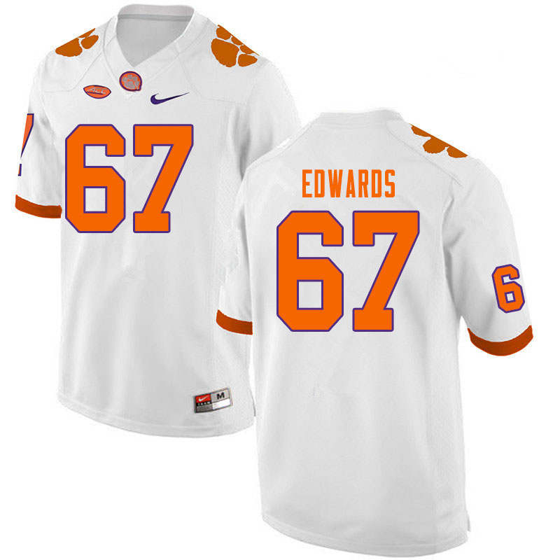 Men #67 Will Edwards Clemson Tigers College Football Jerseys Sale-White