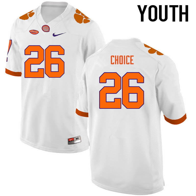 Youth Clemson Tigers #26 Adam Choice College Football Jerseys-White