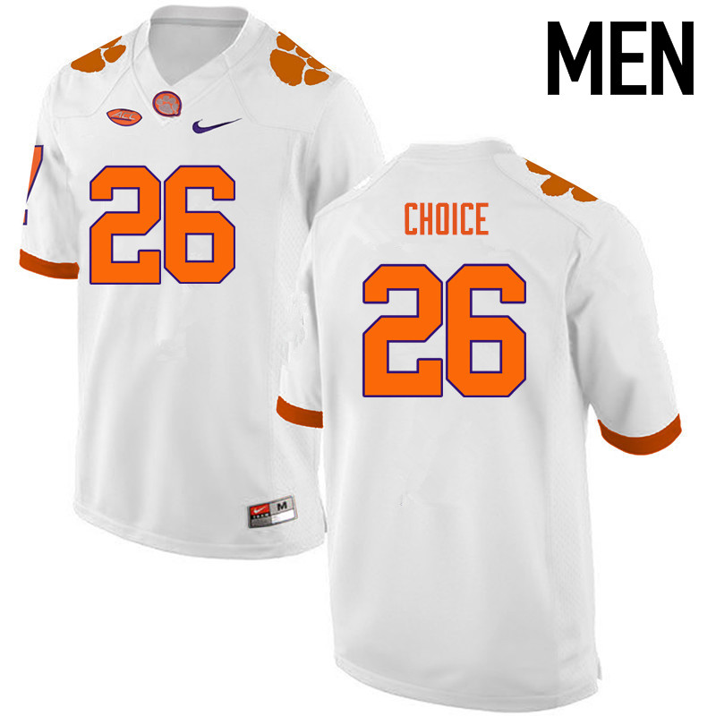 Men Clemson Tigers #26 Adam Choice College Football Jerseys-White