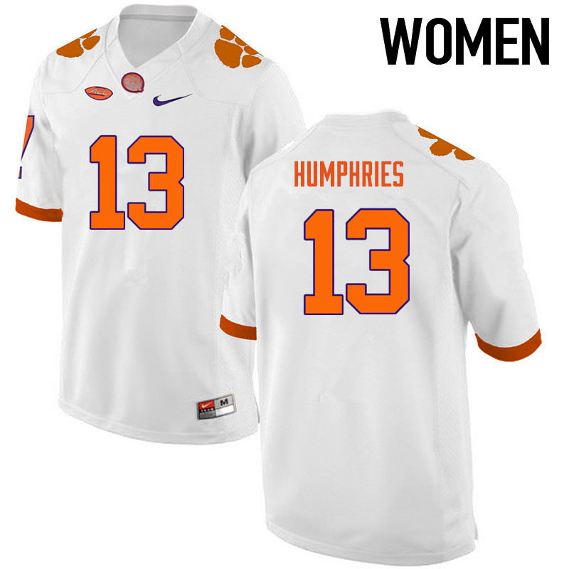 Women Clemson Tigers #13 Adam Humphries College Football Jerseys-White