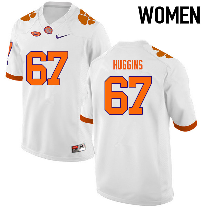 Women Clemson Tigers #67 Albert Huggins College Football Jerseys-White