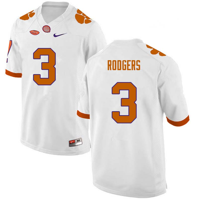 Men #3 Amari Rodgers Clemson Tigers College Football Jerseys Sale-White