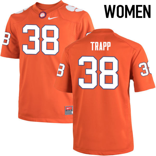 Women Clemson Tigers #38 Amir Trapp College Football Jerseys-Orange