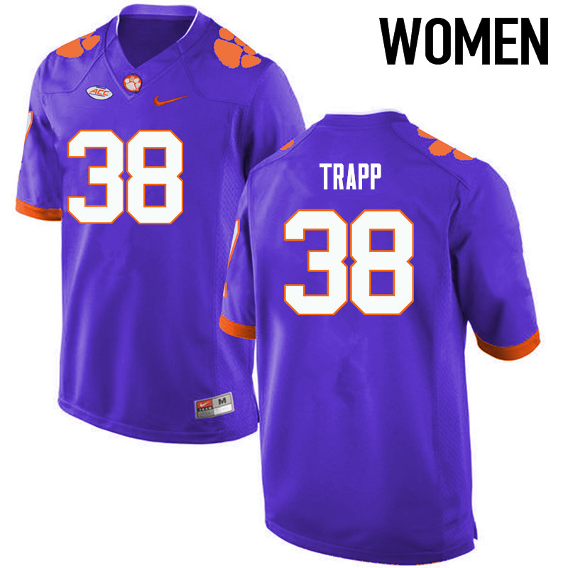 Women Clemson Tigers #38 Amir Trapp College Football Jerseys-Purple