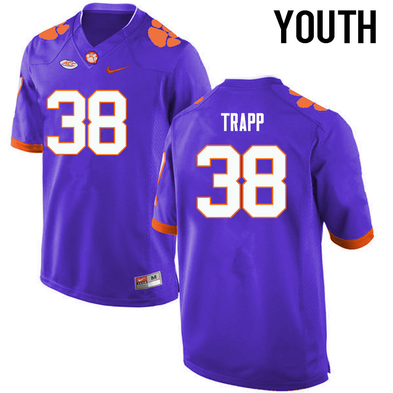 Youth Clemson Tigers #38 Amir Trapp College Football Jerseys-Purple
