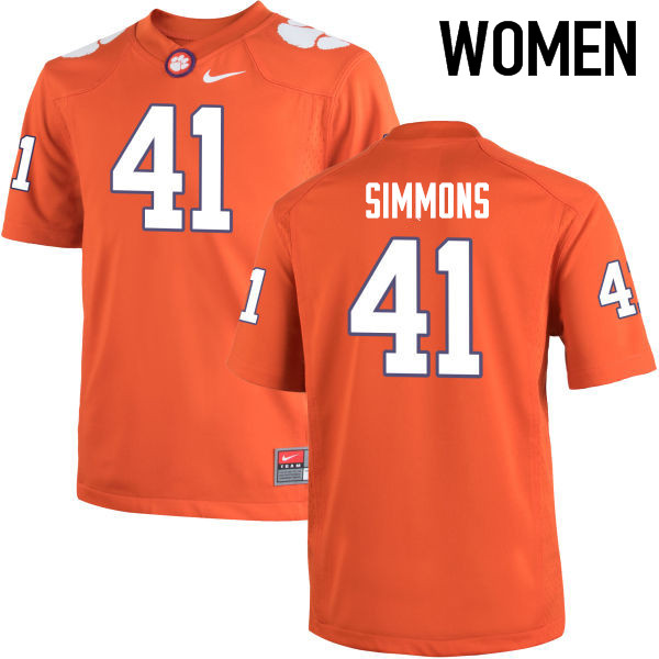 Women Clemson Tigers #41 Anthony Simmons College Football Jerseys-Orange