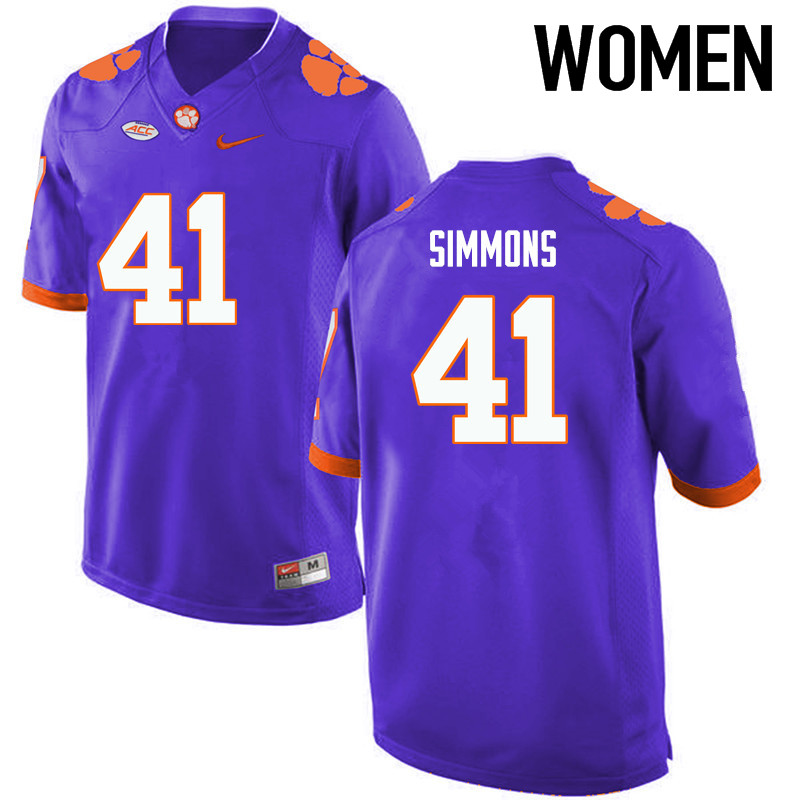 Women Clemson Tigers #41 Anthony Simmons College Football Jerseys-Purple