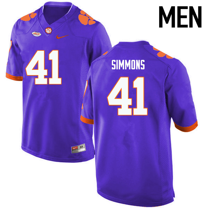 Men Clemson Tigers #41 Anthony Simmons College Football Jerseys-Purple