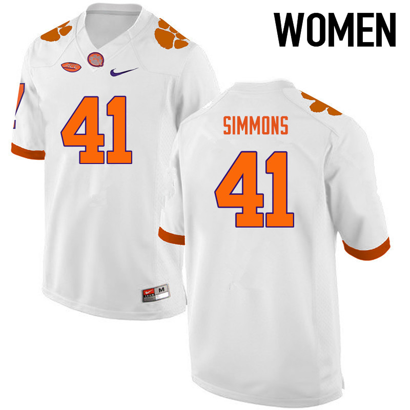 Women Clemson Tigers #41 Anthony Simmons College Football Jerseys-White