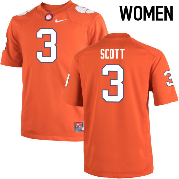 Women Clemson Tigers #3 Artavis Scott College Football Jerseys-Orange