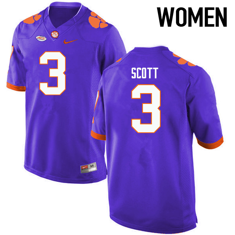 Women Clemson Tigers #3 Artavis Scott College Football Jerseys-Purple