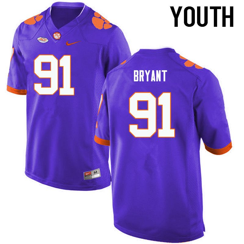 Youth Clemson Tigers #91 Austin Bryant College Football Jerseys-Purple