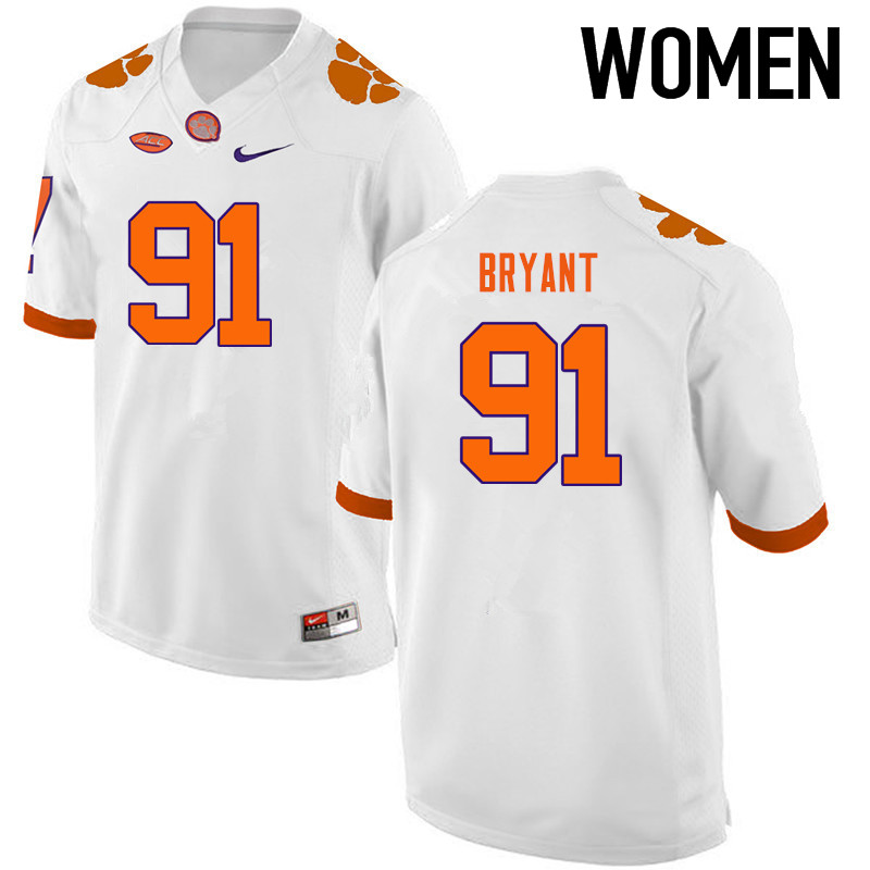 Women Clemson Tigers #91 Austin Bryant College Football Jerseys-White