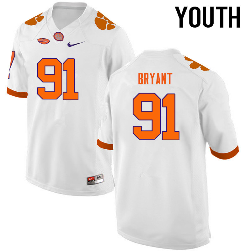 Youth Clemson Tigers #91 Austin Bryant College Football Jerseys-White