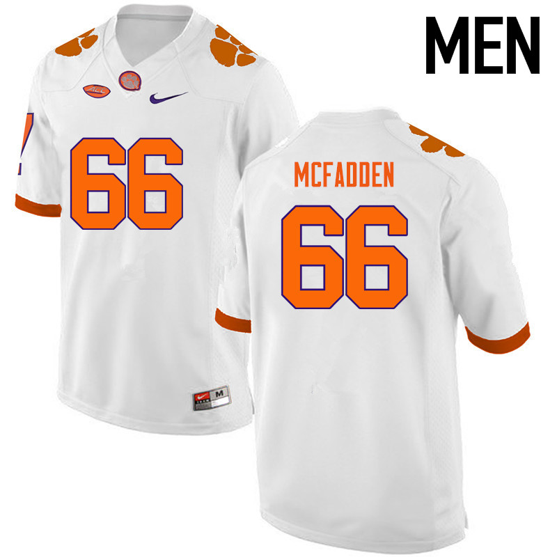 Men Clemson Tigers #66 Banks McFadden College Football Jerseys-White