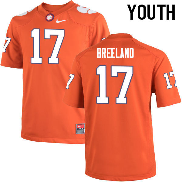 Youth Clemson Tigers #17 Bashaud Breeland College Football Jerseys-Orange