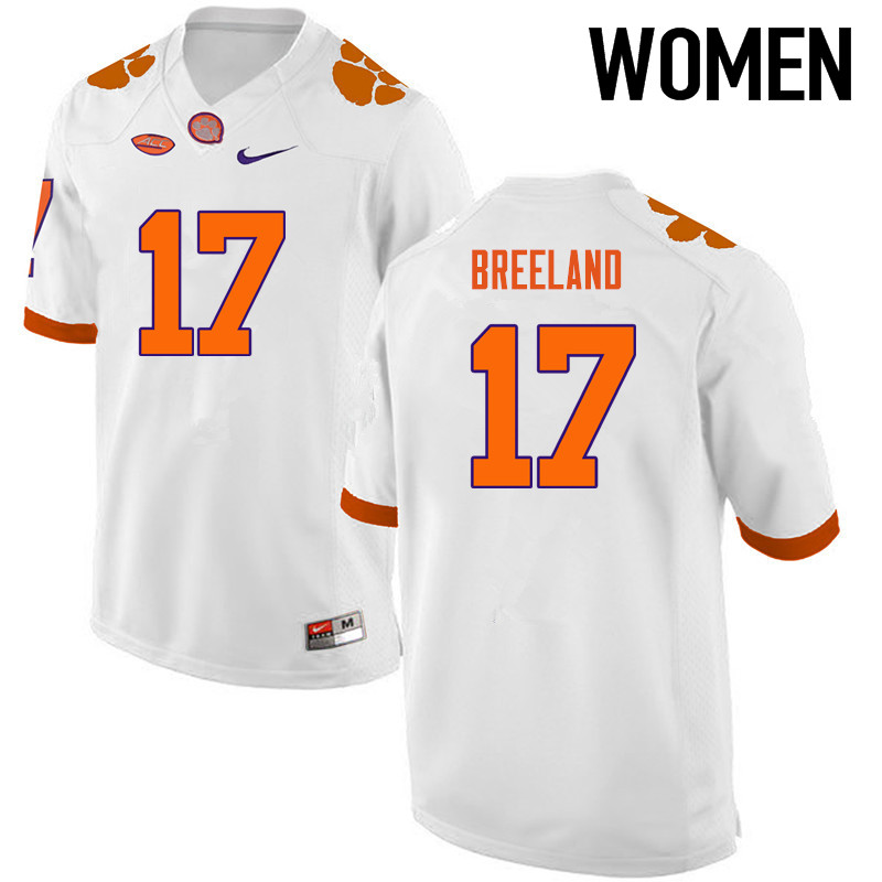 Women Clemson Tigers #17 Bashaud Breeland College Football Jerseys-White