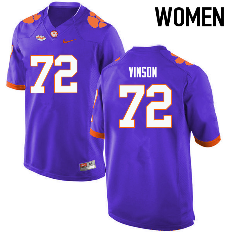 Women Clemson Tigers #72 Blake Vinson College Football Jerseys-Purple