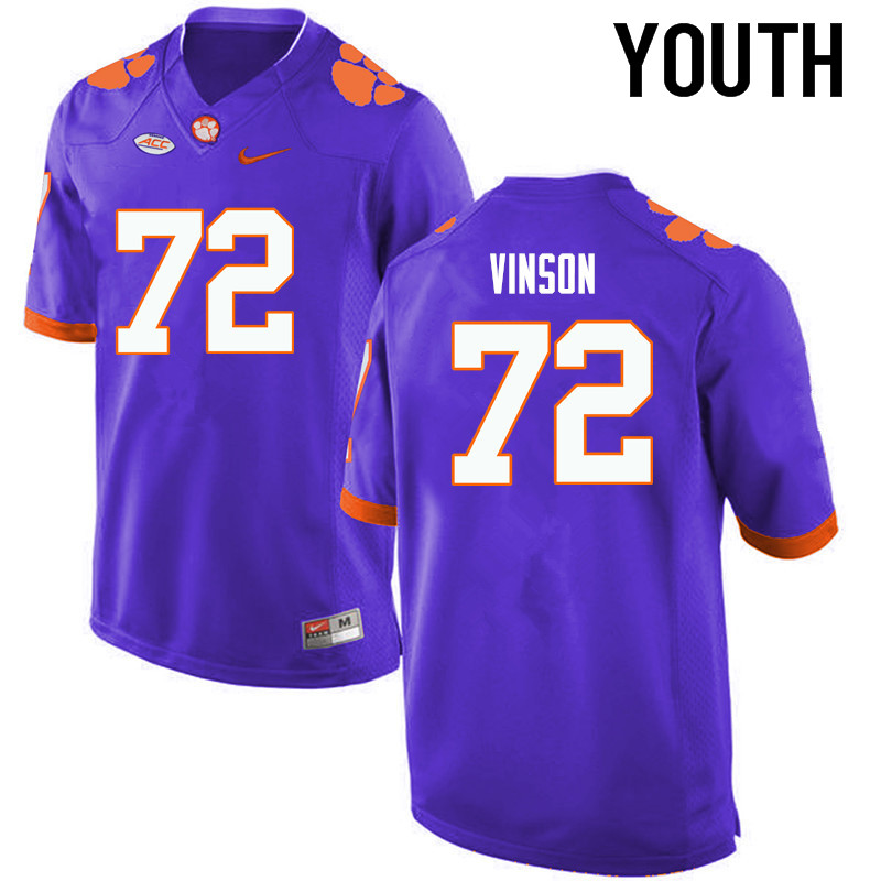 Youth Clemson Tigers #72 Blake Vinson College Football Jerseys-Purple