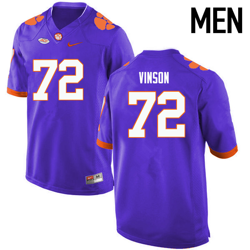 Men Clemson Tigers #72 Blake Vinson College Football Jerseys-Purple