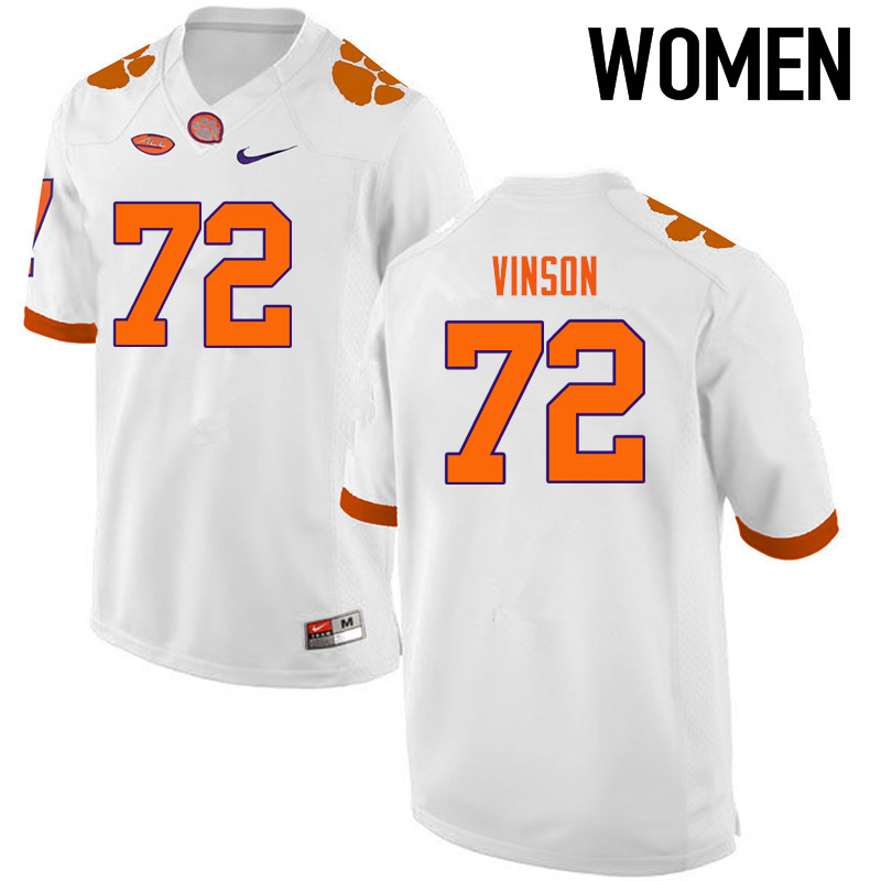Women Clemson Tigers #72 Blake Vinson College Football Jerseys-White