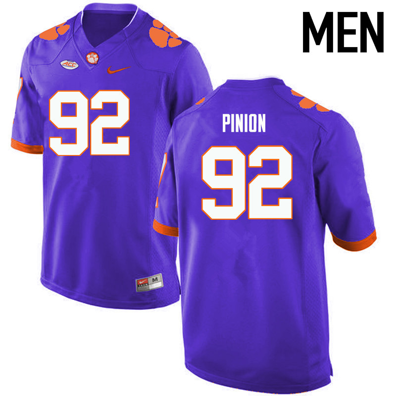 Men Clemson Tigers #92 Bradley Pinion College Football Jerseys-Purple