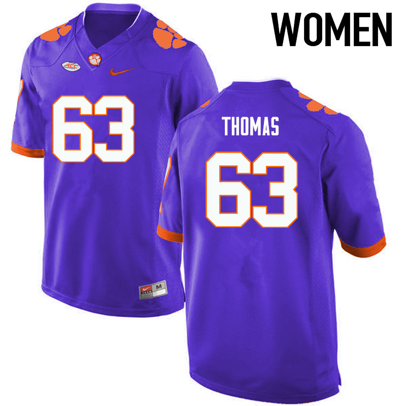 Women Clemson Tigers #63 Brandon Thomas College Football Jerseys-Purple