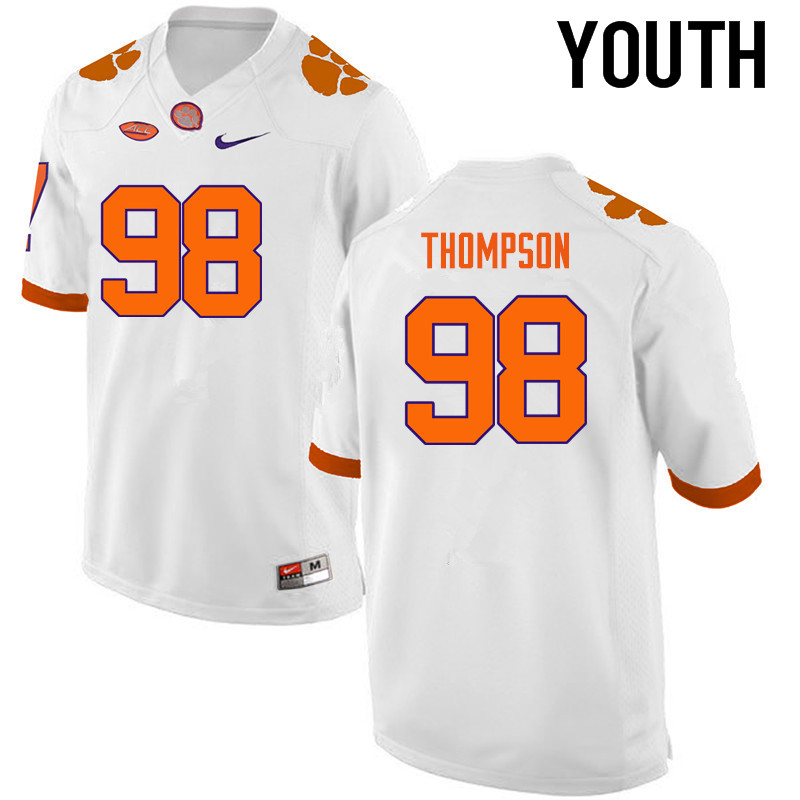Youth Clemson Tigers #98 Brandon Thompson College Football Jerseys-White