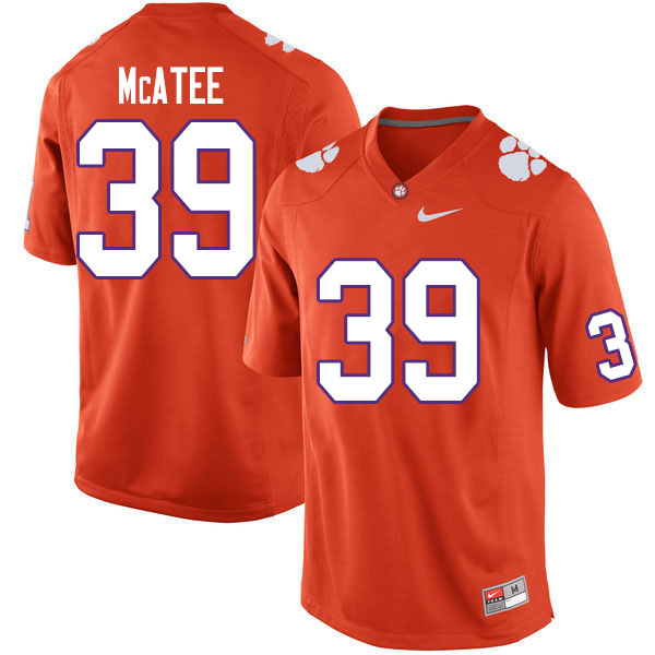 Men #39 Bubba McAtee Clemson Tigers College Football Jerseys Sale-Orange