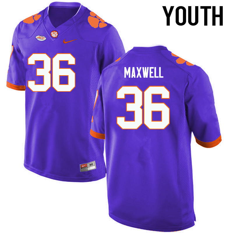 Youth Clemson Tigers #36 Byron Maxwell College Football Jerseys-Purple