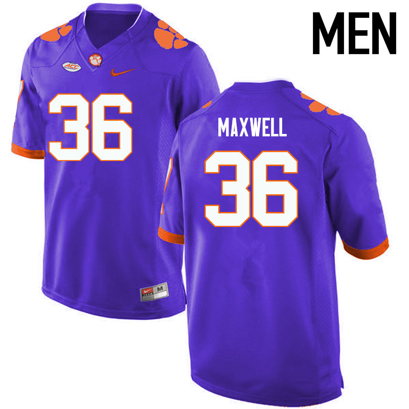 Men Clemson Tigers #36 Byron Maxwell College Football Jerseys-Purple