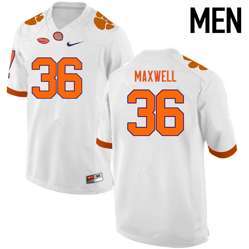 Men Clemson Tigers #36 Byron Maxwell College Football Jerseys-White