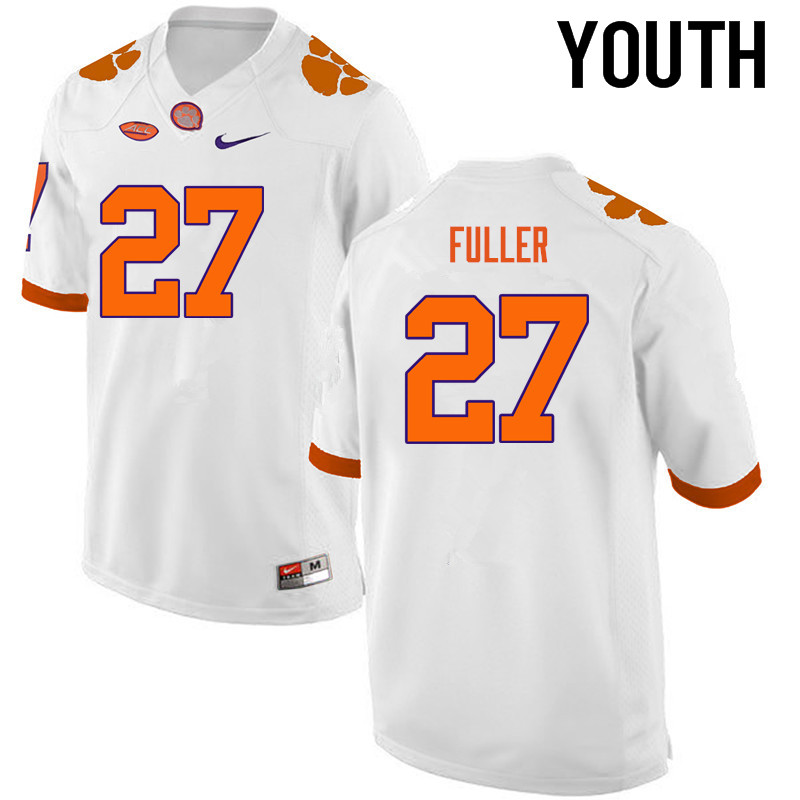 Youth Clemson Tigers #27 C.J. Fuller College Football Jerseys-White