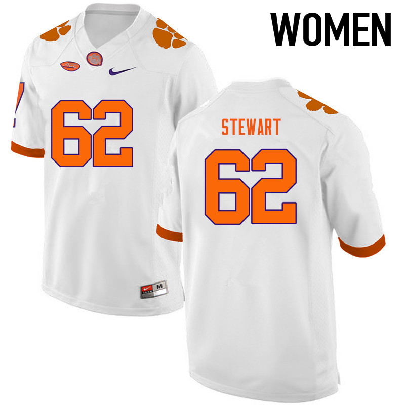Women Clemson Tigers #62 Cade Stewart College Football Jerseys-White