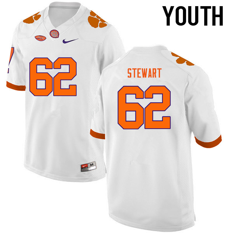 Youth Clemson Tigers #62 Cade Stewart College Football Jerseys-White