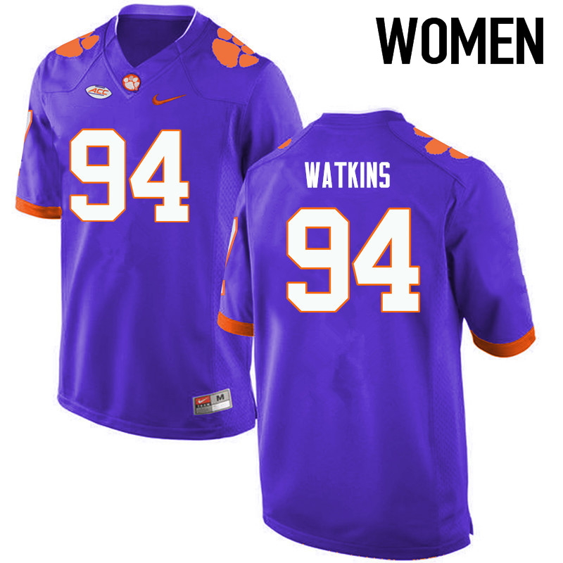 Women Clemson Tigers #94 Carlos Watkins College Football Jerseys-Purple