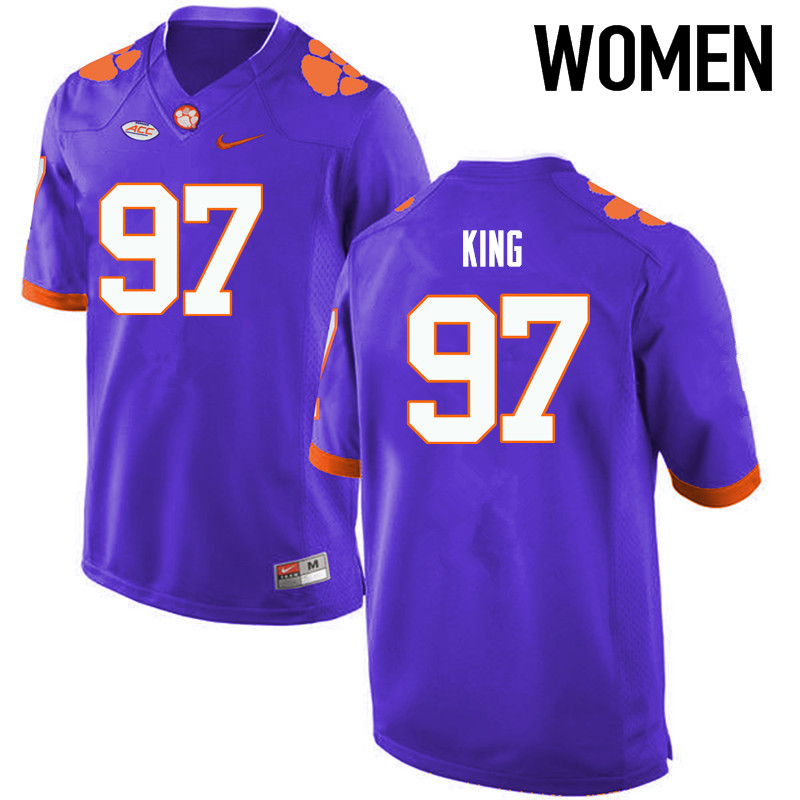 Women Clemson Tigers #97 Carson King College Football Jerseys-Purple