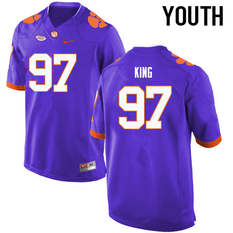 Youth Clemson Tigers #97 Carson King College Football Jerseys-Purple