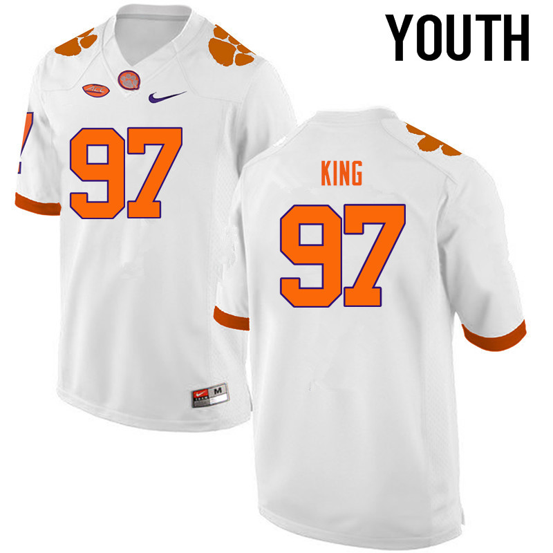 Youth Clemson Tigers #97 Carson King College Football Jerseys-White